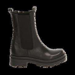 Chelsea boots neri in pelle, tacco 5 cm, Primadonna, 167277044PENERO037, 001a