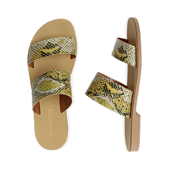 Mules flat gialle in vernice effetto snake skin, Primadonna, 136767003PTGIAL035, 003 preview
