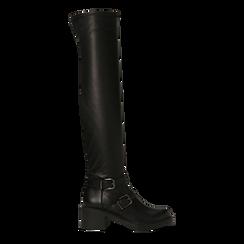 Stivali sopra il ginocchio, tacco 4 cm, Primadonna, 120618172EPNERO036, 001a