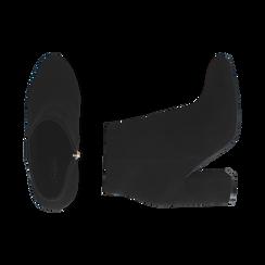 Ankle boots neri in microfibra, tacco 9 cm , Stivaletti, 142708221MFNERO036, 003 preview