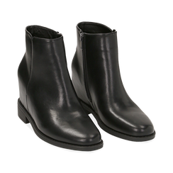 Ankle boots neri in eco-pelle con zeppa interna, Stivaletti, 149721221EPNERO035, 002 preview