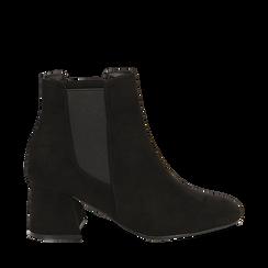 Ankle boots neri in microfibra, tacco trapezio 6 cm , Stivaletti, 142707127MFNERO036, 001a