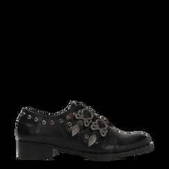 Flat con fibbia nera e borchiette, 129306611EPNERO037, 001a