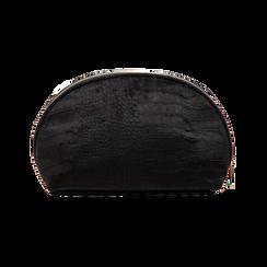 Trousse nera in velluto, Saldi Borse, 125921694VLNEROUNI, 002 preview