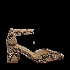 Décolleté con cinturino beige in eco-pelle snake print, tacco 6,50 , Primadonna, 152182391PTBEIG035, 001a