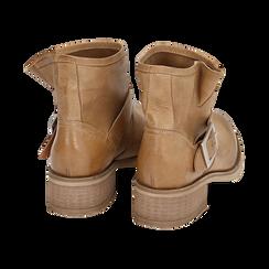 Bottines Biker camel en cuir, Chaussures, 157782014PECUOI039, 004 preview