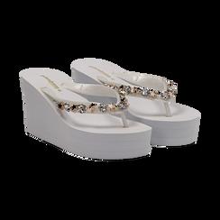 Zeppe infradito bianche in pvc, zeppa 8,50 cm, Primadonna, 13C119507PVBIAN037, 002 preview
