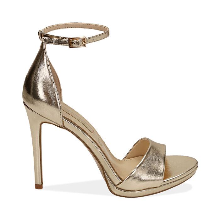Sandali oro laminato, tacco 11,5 cm, Primadonna, 172133410LMOROG038