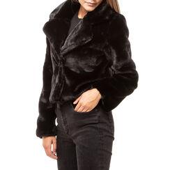 Abrigo negro de pelo sintético, Primadonna, 16B420101FUNEROM, 001a