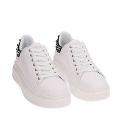 Sneakers bianche, zeppa 5 cm , Primadonna, 182621192EPBIAN036, 002a