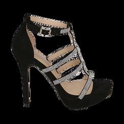 Sandalias en microfibra color negro, tacón 12,50 cm , OPORTUNIDADES, 152150112MFNERO037, 001 preview