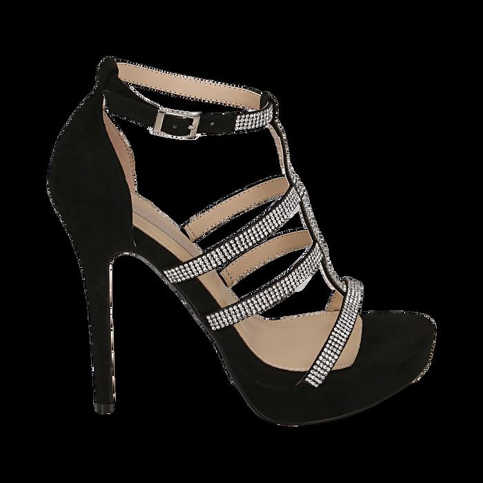 Sandalias en microfibra color negro, tacón 12,50 cm , OPORTUNIDADES, 152150112MFNERO037