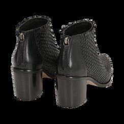 Ankle boots neri in pelle intrecciata, tacco 6,50 cm, Primadonna, 15J492506PINERO036, 004 preview
