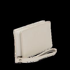 Portafoglio bianco in eco-pelle con laccetto per il polso, Borse, 133723431EPBIANUNI, 002a
