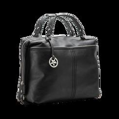 Maxi-bag nera in ecopelle, Primadonna, 122901475EPNEROUNI, 003 preview
