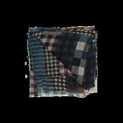 Pashmina marrone in tessuto stampa patchwork, Abbigliamento, 14B404027TSMARRUNI, 001 preview