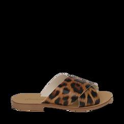 Mules flat leopard in vernice, Saldi Estivi, 136767002VELEMA035, 001a