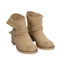 Biker boots taupe in camoscio, Scarpe, 157782014CMTAUP038, 002a