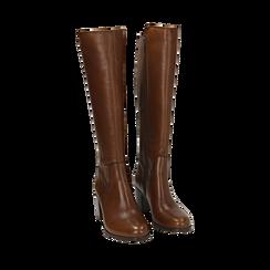 Stivali cuoio in pelle, tacco 7,50 cm, Primadonna, 167738002PECUOI037, 002a