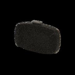 Clutch gioiello nera in microfibra, IDEE REGALO, 165109596MPNEROUNI, 002 preview