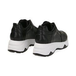 Dad shoes nere in eco-pelle, zeppa 5 cm , Scarpe, 142008356EPNERO036, 004 preview