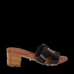 Mules nere in vera pelle, tacco 5 cm , Primadonna, 137272145VANERO036, 001a