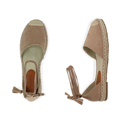 Espadrillas lace-up beige in microfibra, Zapatos, 154933051MFBEIG038, 003 preview