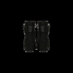 Tronchetti neri con maxi-fibbia, tacco 5 cm, Scarpe, 122707413MFNERO, 003 preview