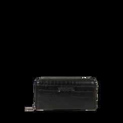 Portefeuille noir imprimé croco, Primadonna, 165122519CCNEROUNI, 001a