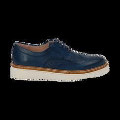 Stringate flatform blu in eco-pelle, Scarpe, 133009503EPBLUE036, 001 preview