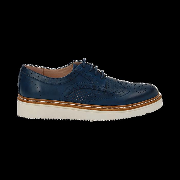 Stringate flatform blu in eco-pelle, Scarpe, 133009503EPBLUE036