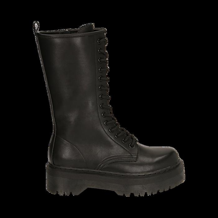 Botas militares en color negro, Primadonna, 162829101EPNERO035
