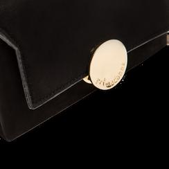 Pochette nera in microfibra scamosciata chiusura frontale gold, Saldi Borse, 123308437MFNEROUNI, 004 preview