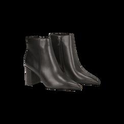Tronchetti neri con punta affusolata, tacco 7,5 cm, Scarpe, 128485161EPNERO, 002 preview