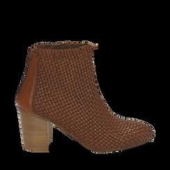 Botines en eco piel trenzada color cuero, tacón 7,50 cm, Zapatos, 15C515018PICUOI037, 001a
