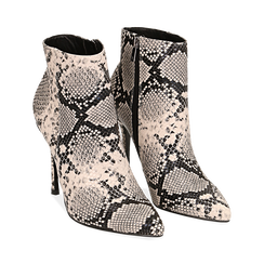Ankle boots beige/neri effetto snake, tacco 11 cm , Stivaletti, 142182015PTBENE040, 002 preview