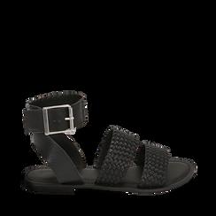 Sandali neri in pelle intrecciata, Zapatos, 156707446PINERO036, 001a