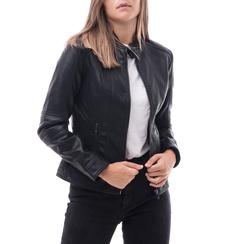 Biker jacket nera in eco-pelle, Abbigliamento, 146500127EPNERO3XL, 001a