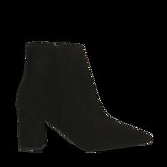 Tronchetti neri in vero camoscio, tacco 5 cm, 12D614011CMNERO040, 001a