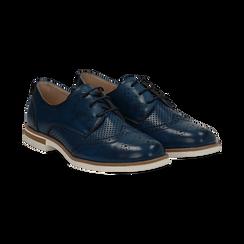 Stringate blu in eco-pelle con lavorazione Duilio, Scarpe, 130609561EPBLUE036, 002 preview