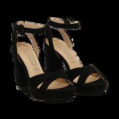 Sandali neri in microfibra, tacco 9,5 cm, Sandali con tacco, 152118585MFNERO035, 002 preview