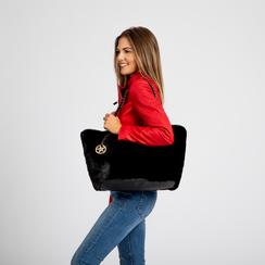 Borsa shopper nera in pelliccia con pochette e portamonete, Borse, 125702076FUNEROUNI, 007