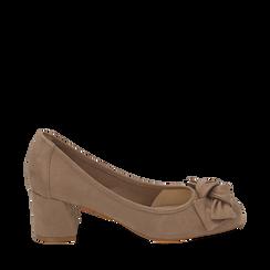Escarpins beige en microfibre avec noeud, talon 5,50 cm , Chaussures, 152182281MFBEIG036, 001a