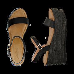 Sandali platform neri in eco-pelle, zeppa in corda 8 cm, Primadonna, 134983293EPNERO036, 003 preview