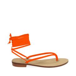 Sandali lace-up arancio in lycra, 174982380LYARAN035, 001a