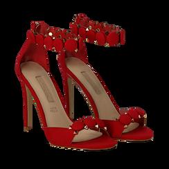 Sandali rossi in microfibra, tacco a stiletto 11 cm, Scarpe, 132120685MFROSS035, 002a