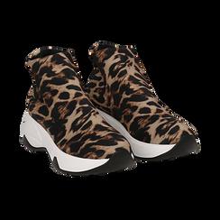 Sneakers a calza leopard in lycra, zeppa 5 cm , Scarpe, 142008357LYLEMA037, 002 preview