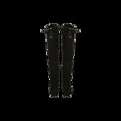 Stivali sopra il ginocchio neri scamosciati con coulisse, tacco 6,5 cm, Scarpe, 122707128MFNERO, 003 preview