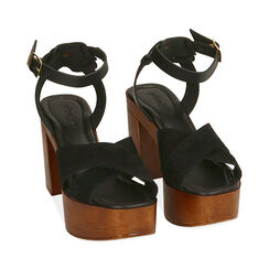 Sandali neri in camoscio, tacco 10,5 cm , Primadonna, 174304899CMNERO035, 002 preview