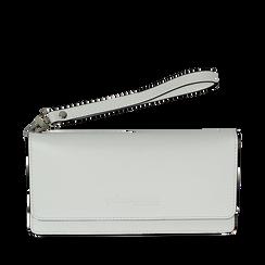 Portafoglio bianco in eco-pelle con laccetto per il polso, Borse, 133723651EPBIANUNI, 001a
